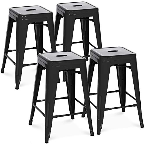 Best Choice Products 24in Set of 4 Indoor Outdoor Stackable Backless Counter Height Stools – Black