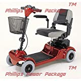 """Merits Health Products, POWER PACKAGE($500 VALUE), Mini Coupe 4-Wheel Super Micro Electric Scooter, 16.5""""W x 15.5""""D, Red - PHILLIPS POWER PACKAGE TM - TO $500 VALUE"""