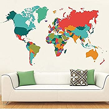 Colourful World Map Wall Decals Peel And Stick Removable Wall Stickers DIY  Art Decor Mural Vinyl