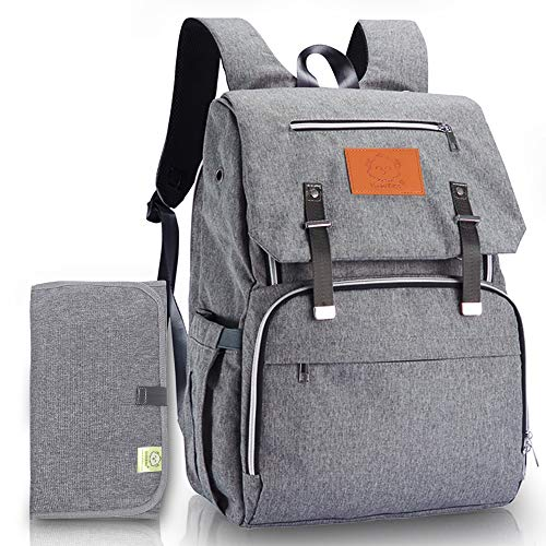Diaper Bag Backpack for Mom and Dad - Large Travel Baby Bags - Multi-Functional Maternity Nappy Bag - Waterproof Durable Premium Oxford Fabric - Diaper Changing Mat Included (Classic Gray) ()