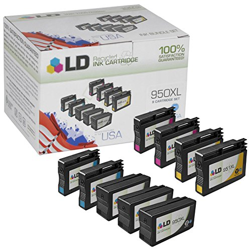 LD © Remanufactured Bulk Set of 9 Replacement Ink Cartridges for Hewlett Packard (HP 950XL and 951XL) - 3 Black + 2 Each Cyan - Magenta - Yellow