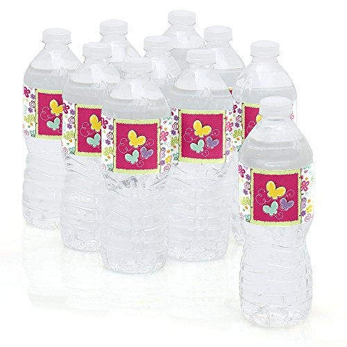 Playful Butterfly and Flowers - Party Water Bottle Sticker Labels - Set of 10