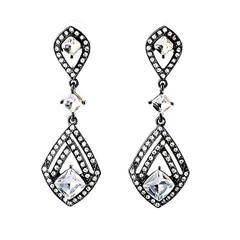 Teniu Crystal Cubic Zirconia Earrings Fashion Black and White Earrings Diamond Dangle Earrings