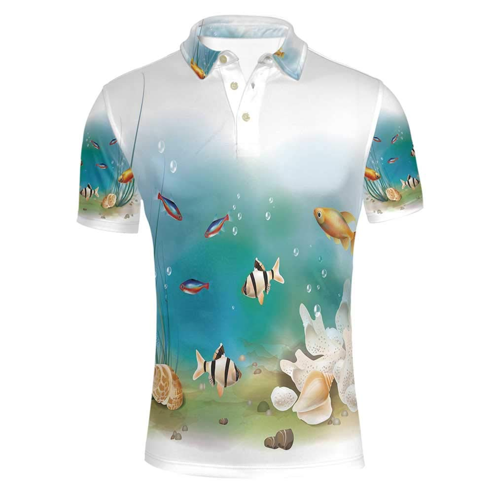 Aquarium Stylish Polo Shirt,Hawaiian Pacific Fauna with Different Fishes Oceanic Plants and Seashells Decorative for Men,L