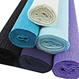 Just Artifacts 70g Premium Crepe Paper Rolls - 8ft Length/20in Width (6pcs, Color: Shades of Blue)