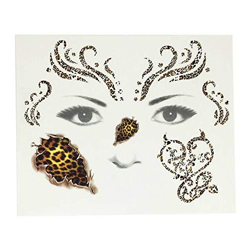 Gelaiken Halloween Leopard Print Face Horror Tattoo Sticker Temporary Sticker for Halloween Party -