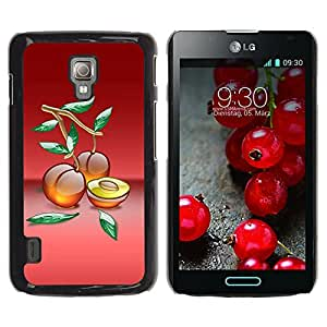 Paccase / SLIM PC / Aliminium Casa Carcasa Funda Case Cover - Fruit Macro Peaches - LG Optimus L7 II P710 / L7X P714