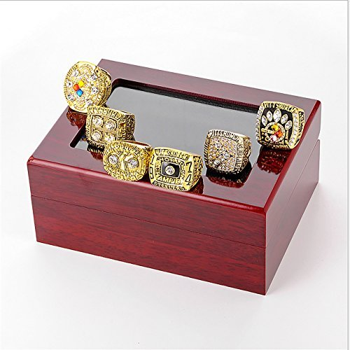 GF-sports store A Set of 6 Pittsburgh Steelers Super Bowl Championship Replica Ring by Display Box Set-(Yellow) by GF-sports store (Image #3)