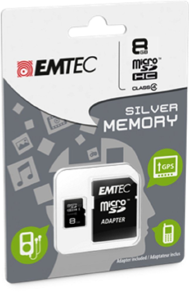 EMTEC 8 GB Class 4 Mini Jumbo Super MicroSDHC Memory Card with Adapter