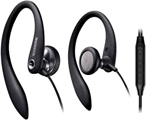 Over Ear Earbuds Wired, in Ear Earphones with Microphone, Sport Headphones for Running, Workout, Exercise and Gym by Magnavox (Black)