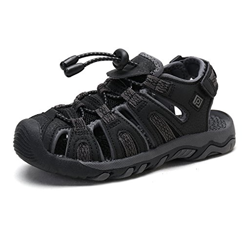 DREAM PAIRS Toddler 160912-K Black Dk.Grey Outdoor Summer Sandals Size 9 M US Toddler