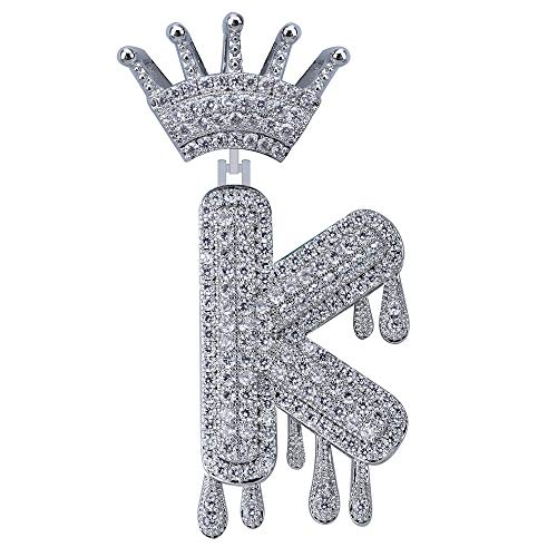 BLINGMC Hip Hop Jewelry Silver Vintage Crown English Letter(K) Pendant Micro Zircon Bling Necklace