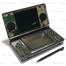 ValueDeluxe Custom Transparent Smoke Black Nintendo DS Lite System Hand held Gaming Console + Bonus World AC Adapter and Car Adapter