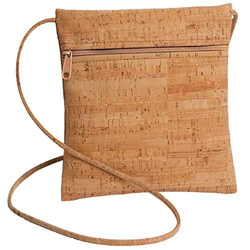 Cork Cross Body Bag with Natural Zipper