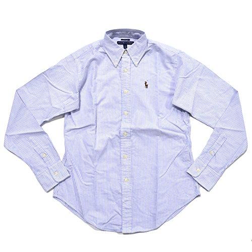 Ralph Lauren Womens Oxford Classic Fit Button Down Dress Shirt (2, Blue Striped)