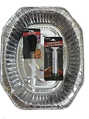 "Disposable Durable Aluminum Foil Large Oval Roasting Pan Bundle With Turkey Baster And Turkey Injector Kit For The Holidays 3 Piece Set 17.5""x14""x3.5"" Deep"