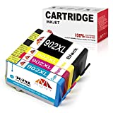 Mony Remanufactured 902XL 902 XL Ink Cartridges with New Updated Chip (1 Black, 1 Cyan, 1 Magenta, 1 Yellow) Replacement for Officejet Pro 6958 6978 6968 6962 6975 6970 6060 6954 6951 Printers