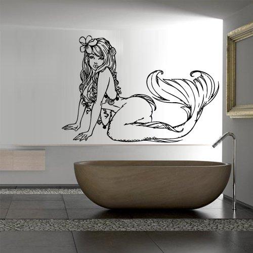 Amazon.com: Mermaid Wall Decal Art Decor Decals Sticker Mermaid Star Tail  Cartoon Fish Alga Ocean Sea Girl Silhouette Nymph (M813): Home U0026 Kitchen