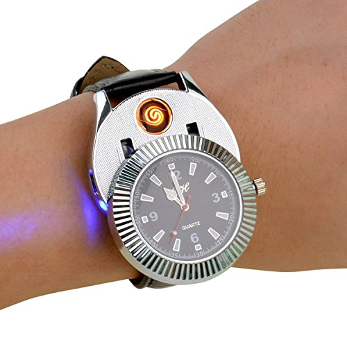 Sporty Quartz Watch with USB Electronic Rechargeable Windproof Flameless Cigarette Lighter
