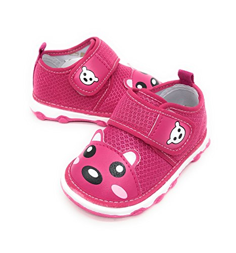 EASY21 Baby Toddler Girl Lacy Velcro Fashion Sneakers,Fuchsia46,Size 2