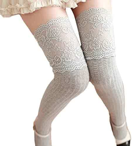 0de9f4a6ab281 Women Thigh High Stockings, FTXJ Sexy Lace Over Knee High Leg Warmer Socks
