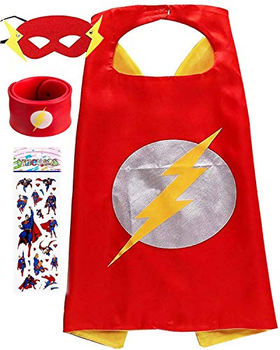Superhero Dress Up Costume for Kids, Satin Cape and Felt Mask - Birthday Gifts for Boys Girls -