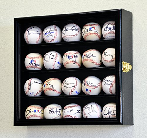 20 Baseball Display Case Cabinet Holder Wall Rack w/ UV Protection, Black ()