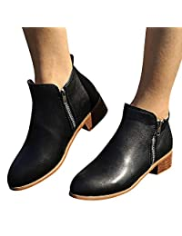 Yuxikong Women's Ankle Bootie, Leather Knight Ladies Martin Short Booties