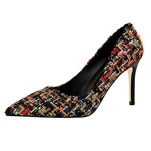 Mode Femmes Tissés Plaids Tissu Stiletto Talons Hauts Bout Pointu Chaussures Peu Profondes Noir