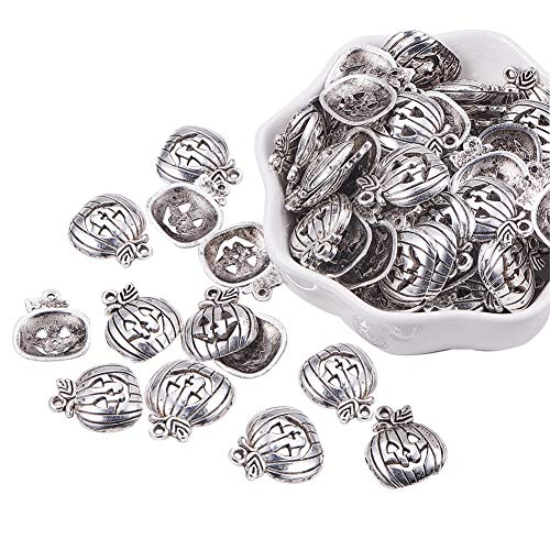 (PH PandaHall 100pcs Antique Silver Pumpkin Charms Pendants Beads Charms for DIY Bracelet Necklace Jewelry Making)