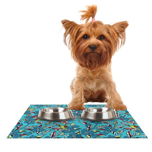 KESS InHouse Michelle Drew Paper Leaf bluee Feeding Mat for Pet Bowl, 18 by 13-Inch