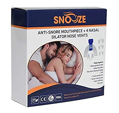 Snooze Premium Anti Snore Mouthpiece System + 4 Dilator Nose Vents - Mouth Guard Sleep Aid - Anti Snoring Devices & Snore Stopper Solution