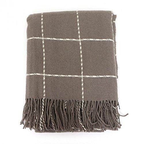SARO LIFESTYLE Geometric Windowpane Design Tassel Wool Blend Throw Blanket, 50'' x 60'', Natural