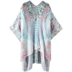 Women Cardigan,kaifongfu Print Chiffon Loose Shawl Kimono Cardigan Top Cover up Shirt Blouse