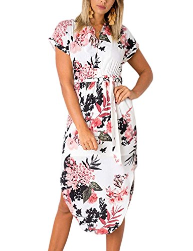 V Pattern Geometric Dress with Belt Causal Midi Sleeve Kancystore Flower Women's Neck Short FwE11gq0