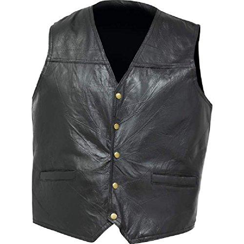 Mens Black Leather Concealed Carry Vest Ccw Holster Pocket Motorcycle Biker - Biker Concho