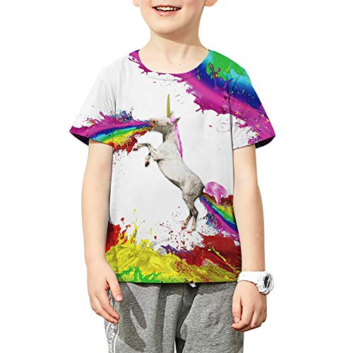 - Funnycokid Boys Girls Unicorn Tee Shirts Kids Psychedelic Splash-Ink Printed Shirt Unisex 6-8 Years Old