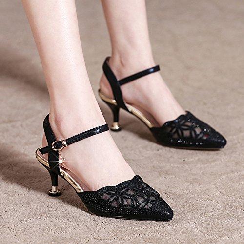 Eté Chaussures Maille Noir Strass Confortable Simple Chaussures Baotou Feifei Femmes Respirant Sandales XqT5KtwW