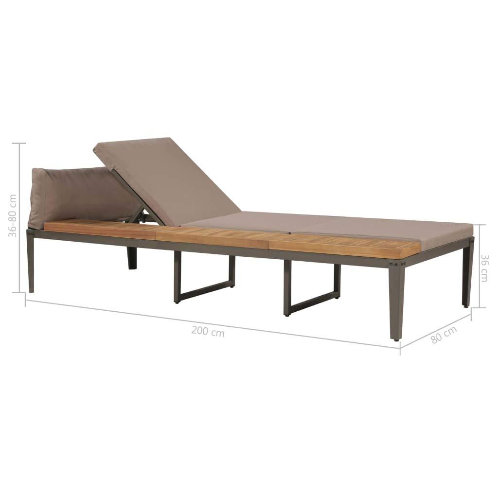 vidaXL Lot de 2 chaises Longues en Bois dacacia