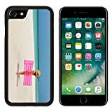 Luxlady Premium Apple iPhone 7 Aluminum Backplate Bumper Snap Case iPhone7 IMAGE 26380361 Woman with pink inflatable raft walking at the beach