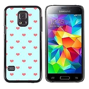 FECELL CITY // Duro Aluminio Pegatina PC Caso decorativo Funda Carcasa de Protección para Samsung Galaxy S5 Mini, SM-G800, NOT S5 REGULAR! // Blue Orange Polka Dot Love