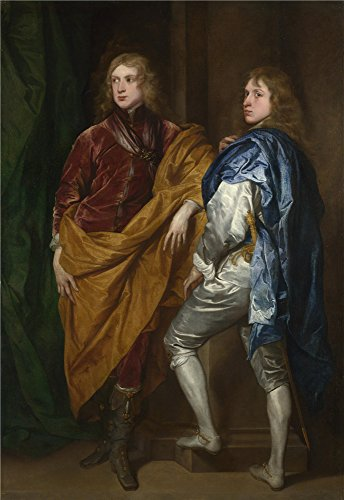 Oil Painting 'Style Of Anthony Van Dyck Portraits Of Two Young Englishmen', 16 x 23 inch / 41 x 59 cm , on High Definition HD canvas prints is for Gifts And Bath Room, Gym And Home Office (Euro Style Cosmopolitan Bath)