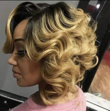 Amazoncom Fshine 12 Lace Wigs Ombre Human Hair Wigs Short Wig