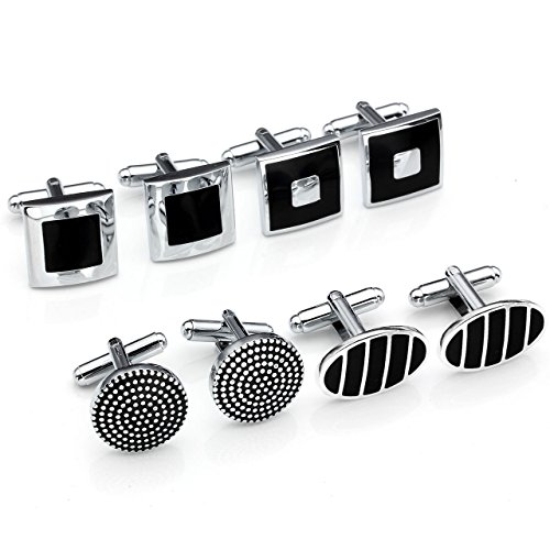 - Jovivi 4Pairs Stainless Steel Mens Classic Modern Ornate Pattern Style Dress Shirt Cufflinks Mix Design Set (Onyx)