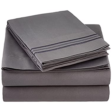 Sweet Home Collection 1800 Thread Count Egyptian Quality 4 Piece Deep Pocket Bed Sheet Set, Queen, Gray