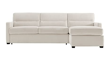 Charmant Natuzzi Editions Galileo Cream Microfiber Two Piece Sleeper Sectional With  Storage Chaise