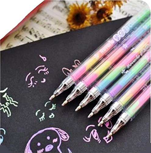 Rainbow Color Pen - 12 Pack of 6-in-1 Multi Color Ink Glitter Gel Pens 0.8mm Roller Ball Office School Supplies Ballpoint Pen Fluorescent Refills Painting Graffiti Marker for Drawing Coloring Marking (Rainbow Gel Ink)