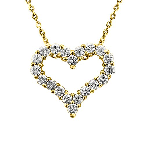 IGI Certified 14K Yellow Gold Heart Diamond Pendant Necklace (1 Carat)