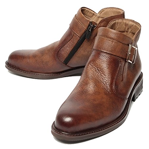 Epicsnob Mens Shoes Brown Leather Korea Dress Formal Chelsea Buckle Ankle Boots 9 M US by Epicsnob