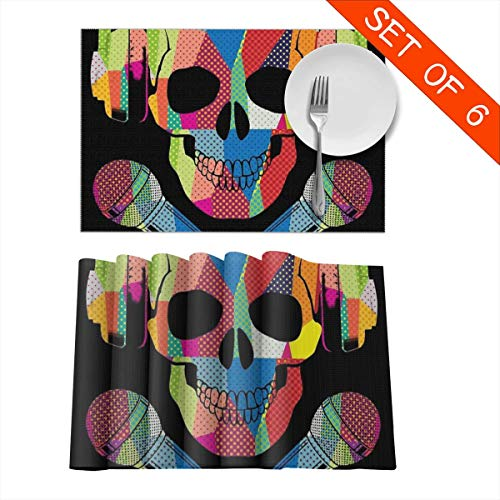 Retro DJ Skull Music Place Mats Set of 6 Washable Fabric Placemats for Dining Room Kitchen Table Decor 12 X 18 Inch -
